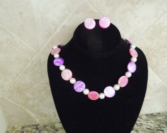 Vintage Necklace and Earrings Set.  Faux Pearls, Enameled Discs, Clip On Earrings.  Pink and Purple
