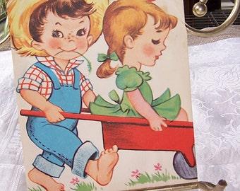 Vintage Original Childs Birthday Card, Scrapbooking Craft Supply, Paper Ephemera, Paper Craft Material, Vintage Greeting Birthday Card