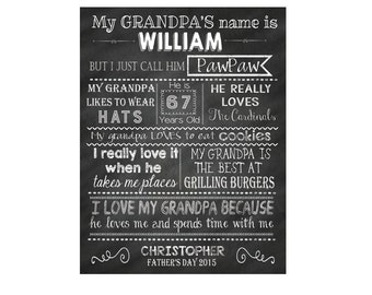 Digital Typography Print, Personalized Father's Day Printable Art,  Grandpa Typography Print,  Wall Print, Father's Day Questionnaire