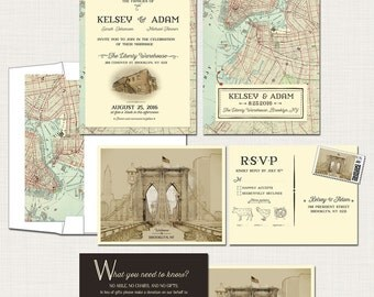 Brooklyn New York Destination  illustrated wedding invitation Rustic Urban wedding Brooklyn Bridge map Artist sketch Deposit Payment