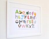 Landscape Animal Alphabet Nursery Print - Baby ABC - Modern Children's Educational Wall Art Poster in A4 & A3 Safari, Farm, Woodland theme
