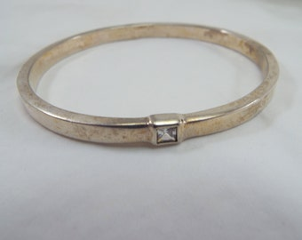Bangle Bracelet Oval Silver Plated with single rhinestone