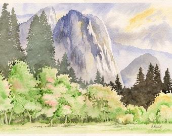 Yosemite valley - original watercolor painitng 10x14in landscape