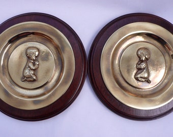 Vintage Nursery Wall Hanging Praying Child Brass on Wood Plaques Boy and Girl Solid Brass Religious Plates Set of 2 Pair of Plaques