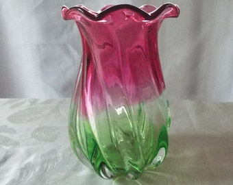 Vintage, Mid Century Glass Vase, Pink and Green, Fluted, Gorgeous