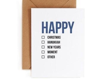 Holiday Card - Christmas Card - Hanukkah Card - Holiday Card - Fill In The Blank Card