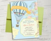 Hot Air Balloon Baby Shower Invitation || || Oh the Places You'll Go || Travel Baby Shower or Birthday Invitation || Printable Invitation
