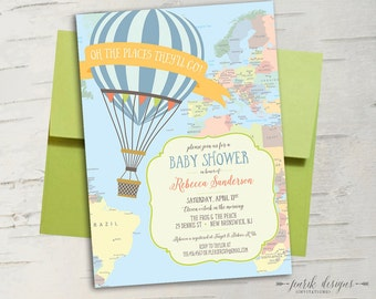 Hot Air Balloon Baby Shower Invitation Oh the Places