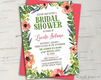 Floral Garden Bridal Shower Invitation || Printable Invitation