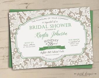 Elegant Lace Bridal Shower Invitation // Greige & Moss Green