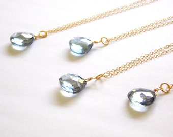 Blue Mystic Quartz Wire Wrapped Gemstone Necklace. Gold Filled or Sterling Silver. Bridesmaids, Birthday, Everyday