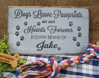 Pet Memorial... Dogs Leave Pawprints on our Hearts Forever In Loving Memory Personalized with Name and Paw Prints