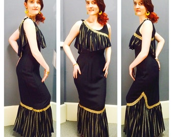 GRECIAN GODDESS Vintage 1960's MERMAID Hem Burlesque Black Textured Cotton & Gold Lame w/ Sequins Hourglass Cocktail Evening Dress Gown M L