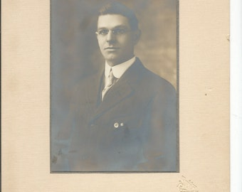 Antique 1900 Cabinet Photograph of a Young Man in Glasses