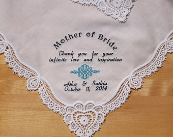 Wedding Handkerchief Embroidered to Mother of the Bride Monogrammed Personalized Custom