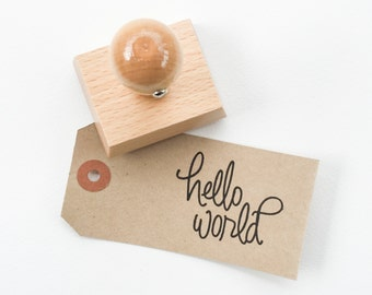 Hello World - Baby Stamp - Baby Shower Stamp - Baby Shower Favor - hand lettered baby stamp - READY TO SHIP - Y0001