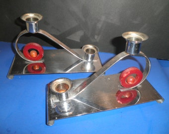 Deco Chrome Red Bakelite Double Candleholders Machine Age 1930's