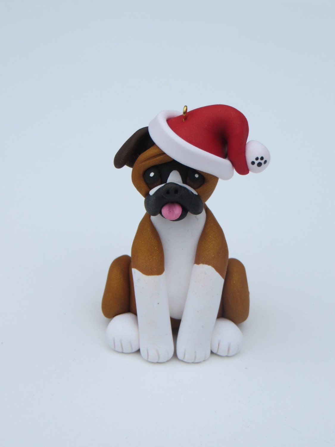 Boxer Dog Polymer Clay Figurine Christmas Ornament