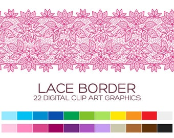Digital Lace Border Clipart, Digital Borders, Clip Art Borders, Digital Frames, Wedding Clipart, Baby Girl Clipart, Instant Download- A00095