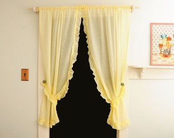 Sears Curtain Panels Sheer with Tiebacks Yellow Ruffles