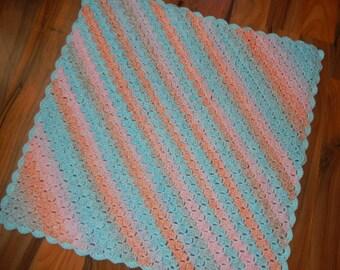 """crochet baby blanket /throw / baby afghan / cot blanket multi color 28"""" x 28"""""""