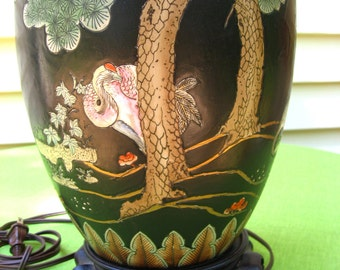 asian phoenix egrett herion lamp black cloisonne ceramic enamel on asian wooden base
