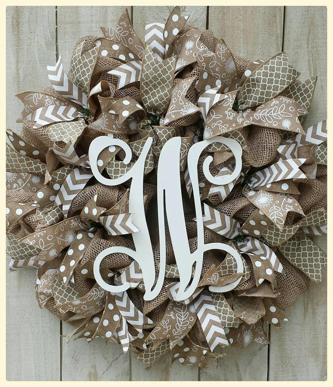 Monogram Burlap Wreath Initial Wreath Initial Door Hanger