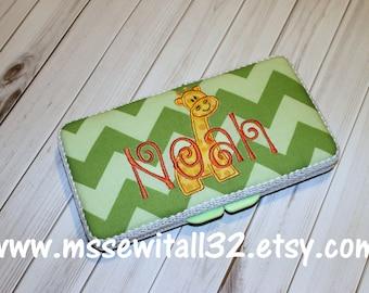 Custom Green Tonal Chevron with Giraffe Applique Diaper Wipes Case