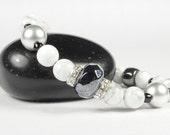Stretch Bracelet Sterling Silver Bracelet Elastic Howlite Gemstones Crystals CarolMade S27