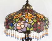 Tiffany Style Stained Glass Lamp - Art Nouveau - Victorian - Art Deco - Hollywood Regency - French Cottage Chic - OOAK Vintage Home Decor