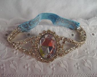 Ladies Rhinestone Cuff Bracelet - Blue and Silver Bracelet - Stretch Bracelet - Glamour Bracelet - Iridescent Bracelet - Sparkling Bracelet
