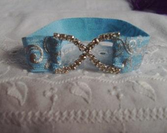 Infant Rhinestone Cuff Bracelet - Blue and Silver Bracelet - Stretch Bracelet - Glamour Bracelet - Iridescent Bracelet - Sparkling Bracelet