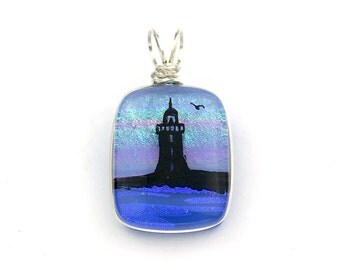 Wire Wrapped Dichroic Glass Lighthouse and Bird Pendant with Hand Drawn Image