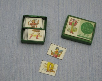 Gaël Miniature Vintage top tails  cards game Dollhouse Miniature child game Accessory toy, Handmade