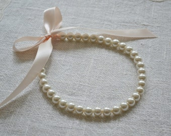 Victoria {Little Girl} - Beautiful Pearl Necklace - Ivory Pearls with Blush Ribbon Tie - Flower Girl