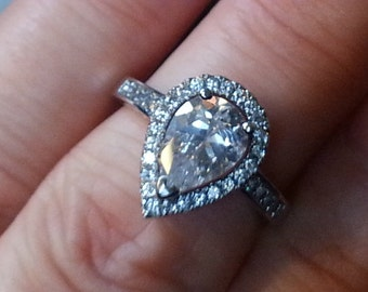 Engagement Ring-  Pear Shaped Halo Engagement Ring - Vintage Engagement Ring