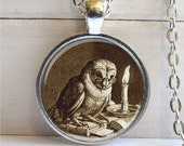 Owl Pendant, Whimsical Owl Necklace, Owl With Books, Wise Owl, Owl Jewelry