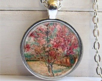 Tree Art Pendant, Cherry Blossom Necklace, Cherry Tree Pendant