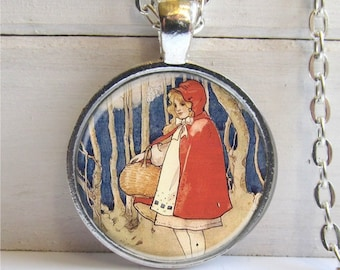Art Pendant, Little Red Riding Hood Necklace, Fairytale Jewelry