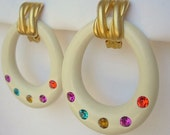 Vintage Hoop Earrings Huge Plastic or Lucite Cream Off White Multi Color Rhinestones Clip On Lightweight Mod Funky Colorful Oversized Retro
