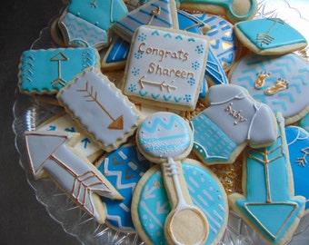 Aztec & Arrows Baby Boy Shower cookies