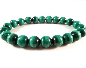 Malachite Stretch Bracelets Smooth Round Deep Dark Forest Green 8mm Gemstone Beads