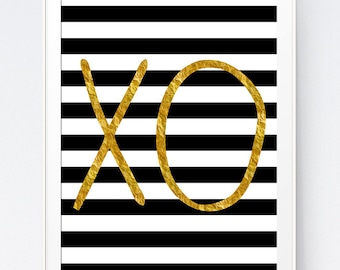 XO Wall Art, Gold and Black Wall Prints, Printable Gold Art, Typography Wall Art, Black Lines Art, INSTANT DOWNLOAD