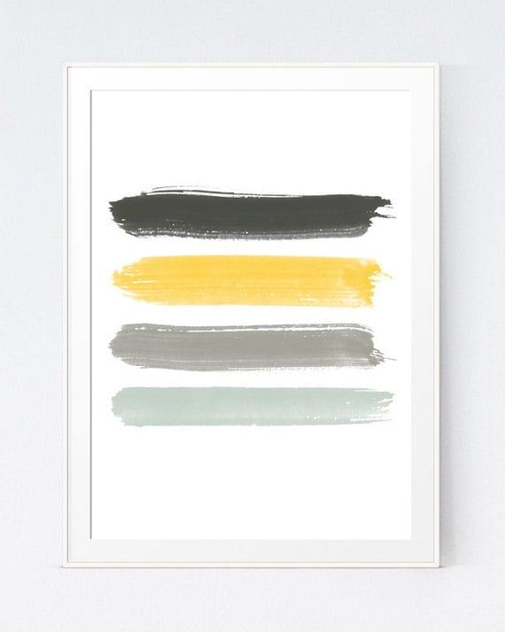 Yellow grey strokes mustard and gray brush strokes yellow for Mustard yellow decor