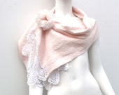 Nude Peach Merino Lace Wedding Shawl Flower Pin