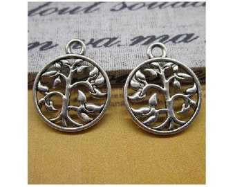 60 Small Tree in Circle Charms Small Pendants Trees Silver Tone Tree of Life Nature Wicca Ecology Charm Jewelry 18x15 mm