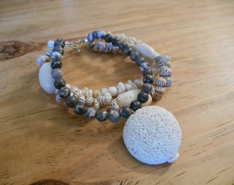 925 Sterling Silver Semi Precious Earthy Natural Handmade 3 Strand Zebra Jasper Shell Coconut Seed Volcanic Rock Beaded Bracelet