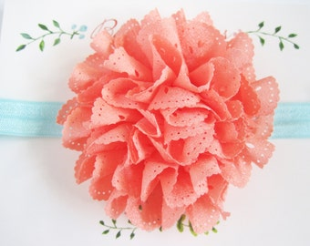 Coral Eyelet Baby Headband, Baby Headbands, Newborn Headbands, Baby Girl Headbands, Infant Headbands, Baby Bows