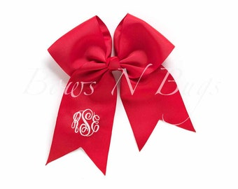 Monogrammed Hairbow / Nine Colors - Navy, Coral, Black, Mint, Pink, Red, Purple, White, and Yellow / Personalized
