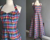80s does 50s Silk Check Halter Neck Prom Dress